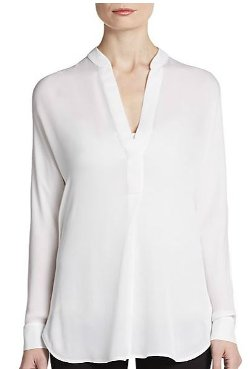 Vince  - Silk Long-Sleeve Blouse