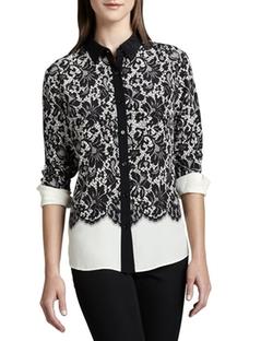 Go Silk  - Lace-Print Silk Blouse
