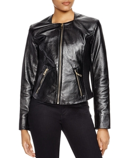 Via Spiga - Leather Ribbed-Detail Jacket