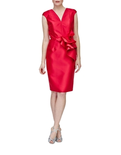 Carmen Marc Valvo - Ruffled-Waist Sheath Dress