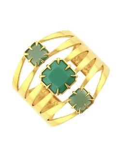 Vince Camuto  - Gold Plated Aqua Stone Cuff Bracelet