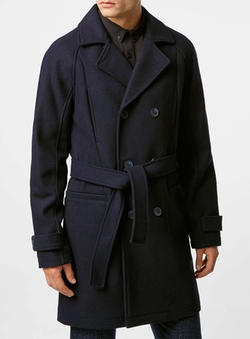 Topman - Navy Wool Blend Belted Trench Coat