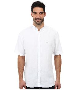 Lacoste  - Short Sleeve Button Down Linen Woven Shirt