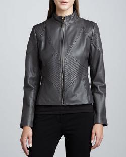 Elie Tahari - Kisha Leather Ribbed-Panel Jacket