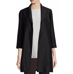 Eileen Fisher - High-Collar Silk Ravine Coat