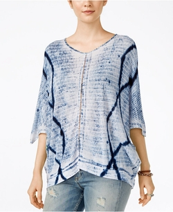 Lucky Brand - Tie-Dyed Crochet-Detail Top
