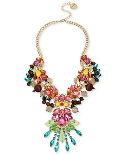 Betsey Johnson  - Gold-Tone Multi-Crystal Statement Necklace