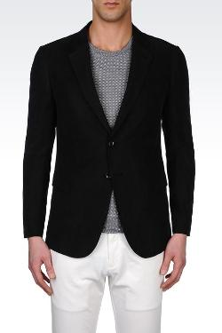 ARMANI COLLEZIONI - Single-breasted Jacket In Lyocell And Linen