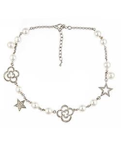 Blu Bijoux - Silver & Pearl Charm Necklace