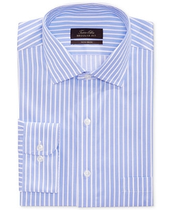 Tasso Elba  - Non-Iron Medium Blue Stripe Dress Shirt