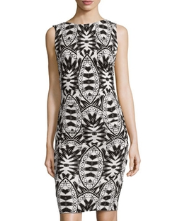 Nicole Miller - Printed Ruched Sleeveless Dress