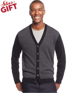 Club Room - Wool Colorblocked Cardigan Sweater