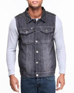 Mo7 - Men Black Coated Denim Vest