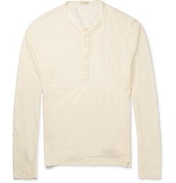 Massimo Alba  - Garment-Dyed Linen-Jersey Henley T-Shirt