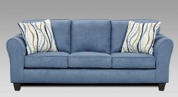 Roundhill Furniture - Microfiber Loveseat with 2 Pillows, Patriot Blue