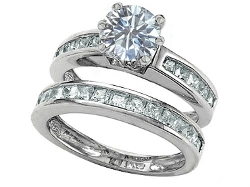 Star K - Genuine White Topaz Wedding Ring Set