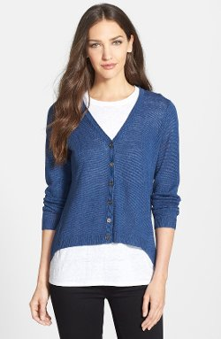 Eileen Fisher  - High/Low Hem Organic Linen V-Neck Cardigan