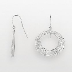 Silver on the Rocks - Sterling Silver Crystal Hoop Drop Earrings