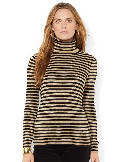 Lauren Ralph Lauren - Metallic Striped Turtleneck Sweater