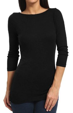 Three Dots  - 3/4 Sleeve Mini Rib British Boat Neck T-Shirt