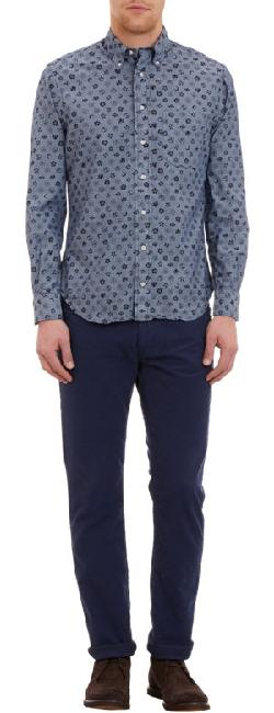 Gitman Vintage  - Medallion-Print Chambray Shirt