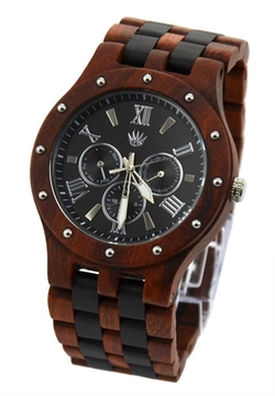 Topwell - Round Quartz Wood Watch