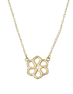 Lord & Taylor  - Yellow Gold Flower Silhouette Charm Necklace