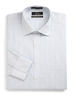 Saks Fifth Avenue Black  - Classic-Fit Pinstriped Shirt