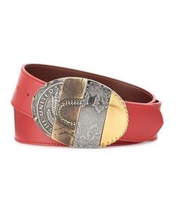 Maison Margiela  - Oval Mixed-Pattern Leather Belt