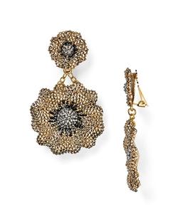 Roni Blanshay  - Crystal Flower Drop Earrings