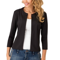 Hellomamma - 3/4 Sleeve Open Front Casual Cropped Blazer