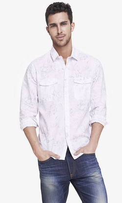 Express - Floral Print Linen-Cotton Shirt