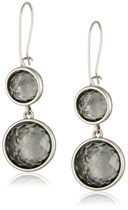 "Kenneth Cole New York - ""Social Items"" Black Diamond Faceted Bead Double Drop Earrings"