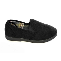 Twin Gusset Terry - Mens  Fleece Slippers With Checked Inner