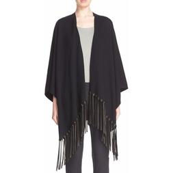 Armani Collezioni - Leather Fringe Knit Poncho