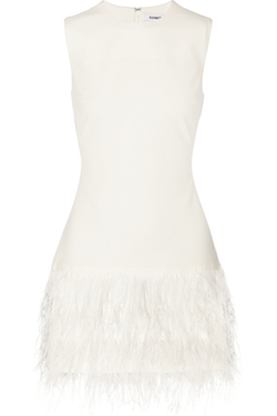 Elizabeth And James - India Feather-Trimmed Stretch-Crepe Mini Dress