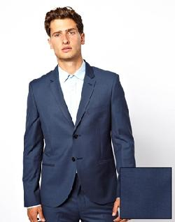 French Connection - Slim Fit Chambray Suit Jacket