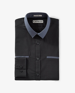 Express - Fitted Contrast Collar Going Out Shirt