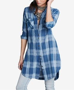 Free People - Indigo High-Low Plaid Tunic Shirt