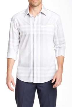 Vince Camuto  - Graph Plaid Long Sleeve Slim Fit Shirt