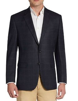 Ralph Lauren  - Regular-Fit Windowpane Wool Sportcoat
