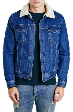 Topman  - Faux Shearling Lined Denim Jacket