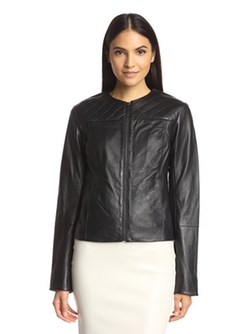 Dawn Levy - Collarless Leather Jacket