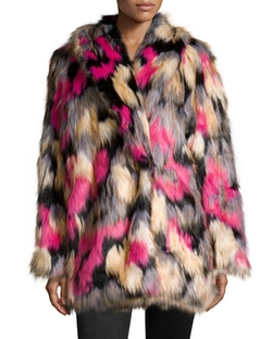 French Connection - Stardust Long-Sleeve Faux-Fur Coat