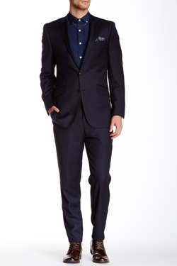 Ben Sherman  - Solid Peak Lapel Two Button Wool Suit