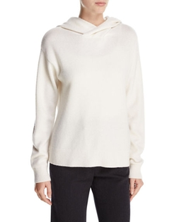 Vince - Crossover Cashmere-Wool Hoodie Sweater