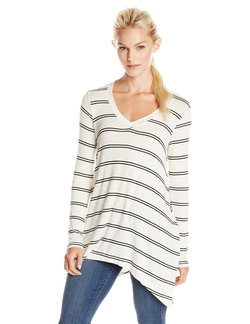 Splendid - Double Stripe V Neck Top