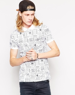 New Love Club  - Paisley Print Polo Shirt