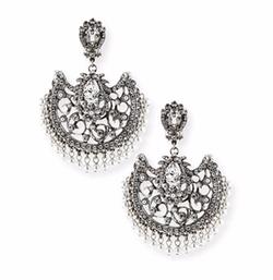 Jose & Maria Barrera - Beaded Scroll Fan Chandelier Earrings