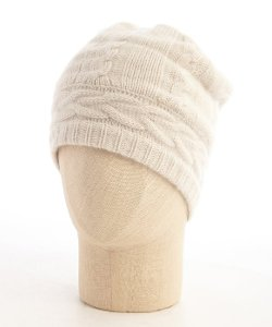 Portolano  - Ivory Cashmere Cable Knit Beanie Hat